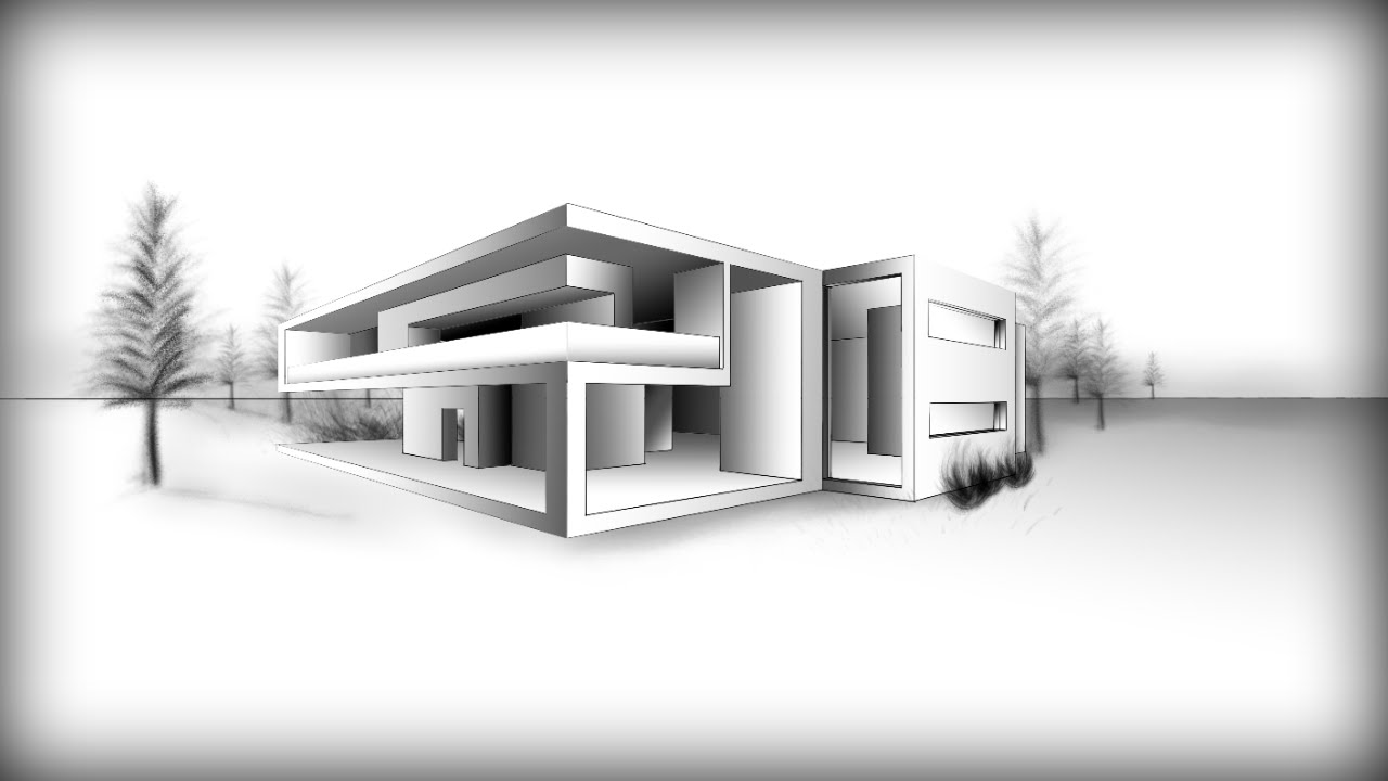 Drawn bulding  architecture design MODERN YouTube #8:  HOUSE