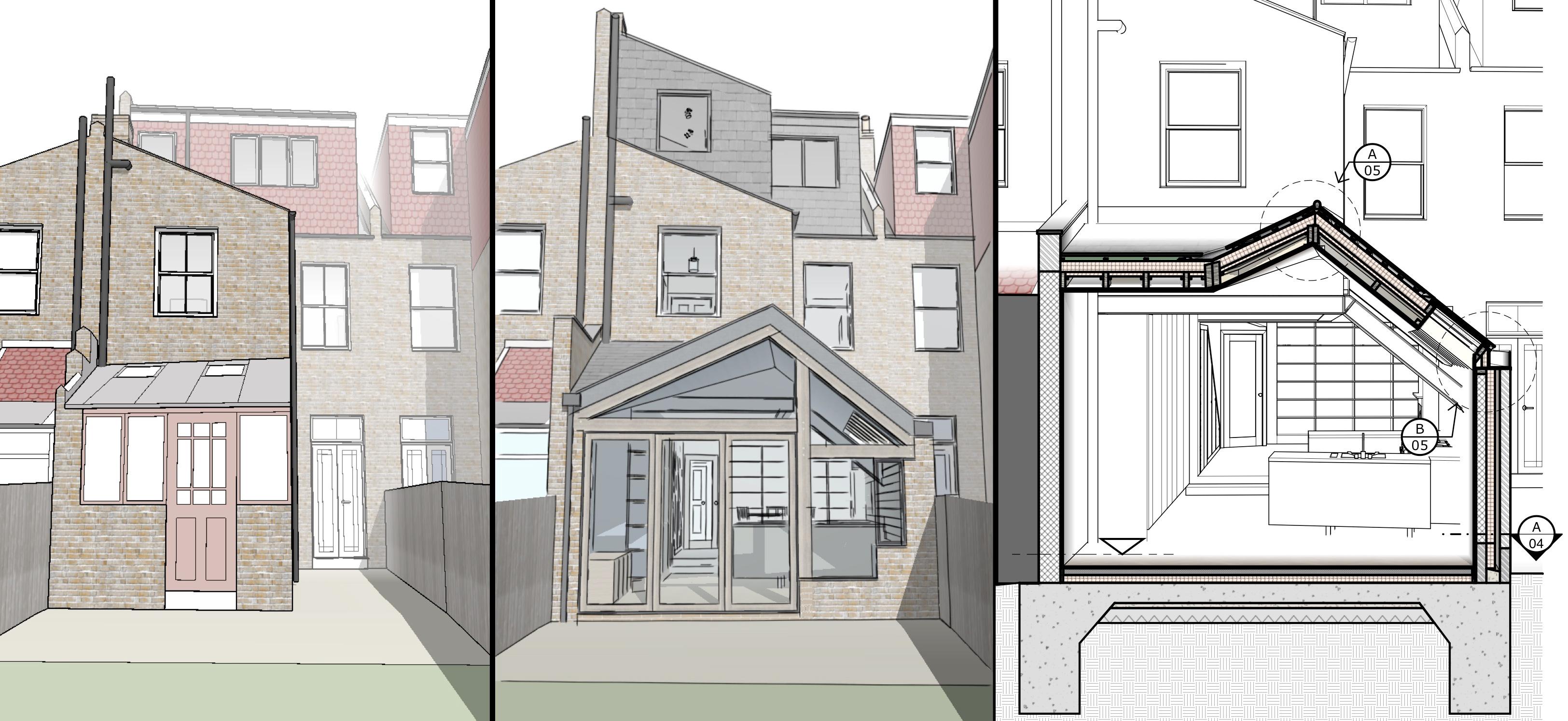 Drawn bulding  architecture design Build Kaneko Design Build in