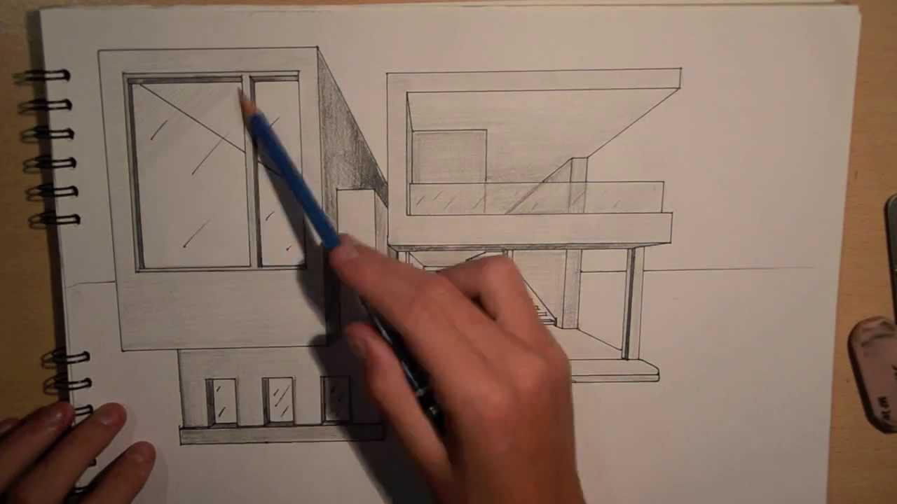 Drawn bulding  architecture design POINT DESIGN HOUSE POINT