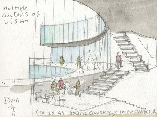Drawn bulding  architecture design Concept architectural design on architectural