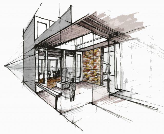 Drawn bulding  architecture design Pinterest Design in places Interior