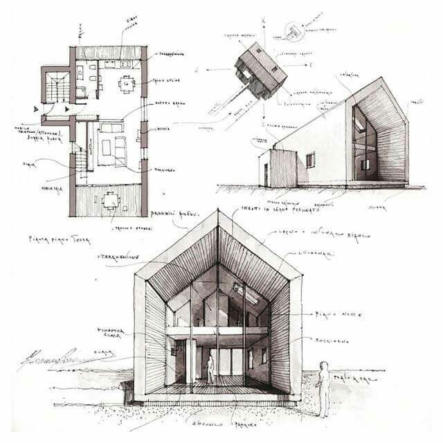 Drawn building architecture design Best on #architecture Architectural sketches