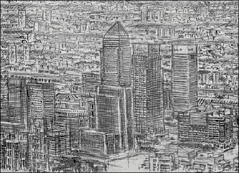 Drawn skyline famous London Wiltshire See from Stephen
