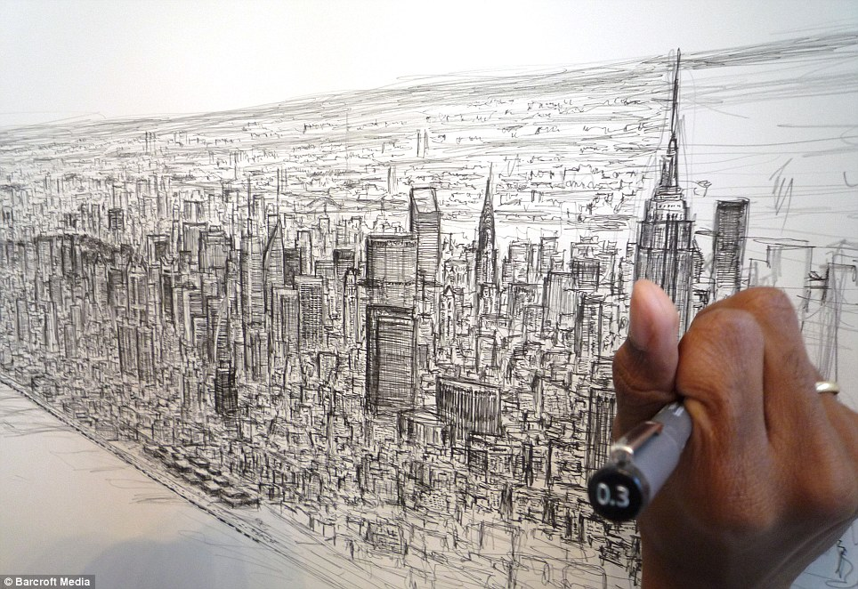Drawn skyline famous Memory for skyline uses up