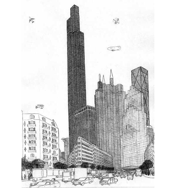 Drawn skyline famous French savant drawn a fictional