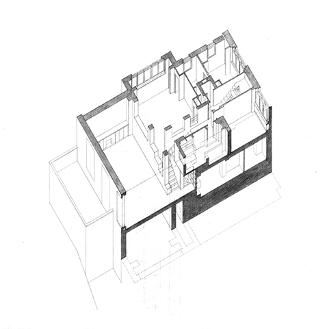 Drawn building axonometric : Study: House drawing sectional