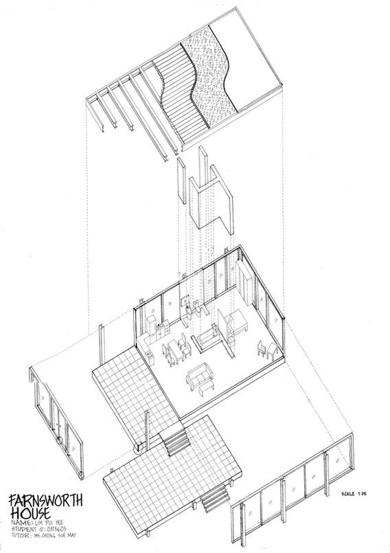Drawn building axonometric Design format in dimension the