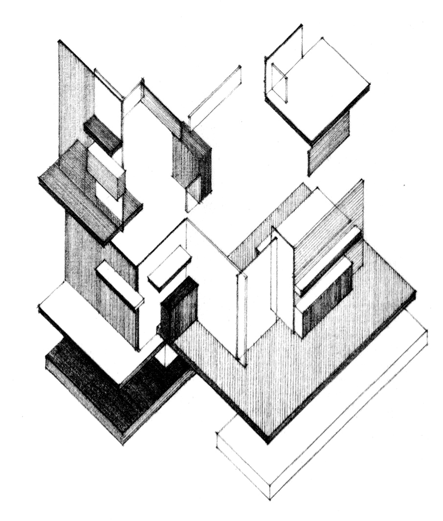 Drawn building axonometric Architectural Context:Overview of jpg VanDoesburg