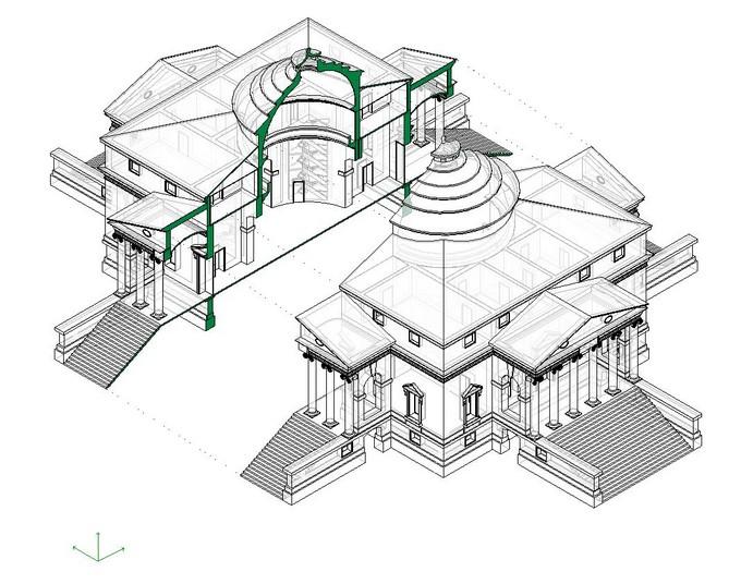 Drawn building axonometric Autodesk Axonometric Exploded Revit a