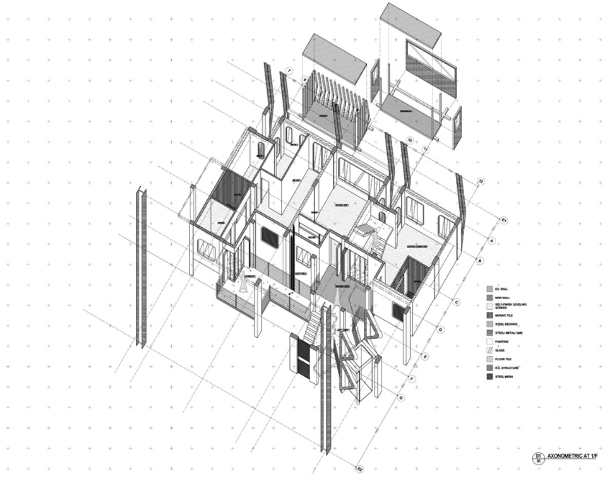 Drawn building axonometric Tenement the Medals: part material