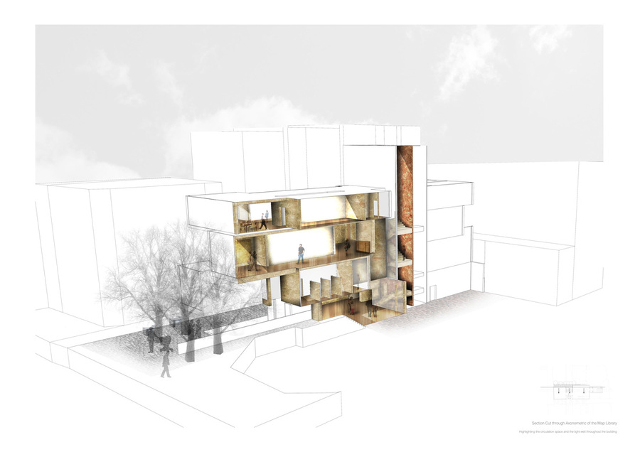 Drawn building axonometric Library presentation the the Map