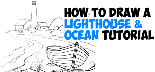 Drawn scenic city traffic  Sea Draw Lighthouse Tutorial