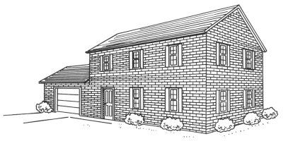 Drawn bulding  brick house In how house Story two