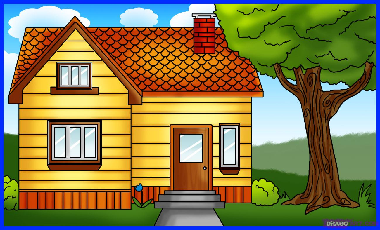 Drawn bulding  brick house Buildings How Step Step House
