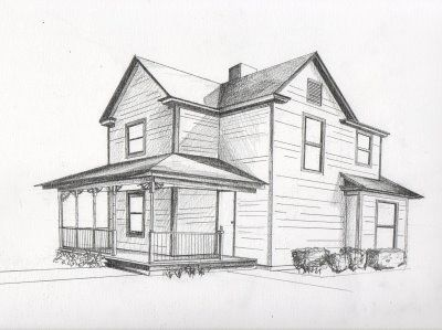 Drawn bulding  brick house Pinterest point Perspective  perspective