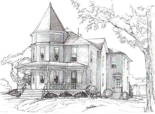 Drawn bulding  brick house IA Brick Moines house to