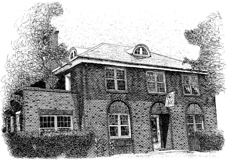 Drawn bulding  brick house House following The and shape