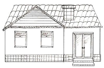 Drawn bulding  brick house Step step Draw a Draw