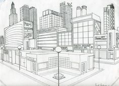 Drawn scenery busy city And City because this By