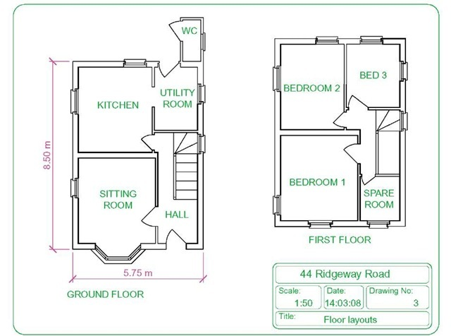 Drawn building cad Layouts (AutoCAD 1 drawing house