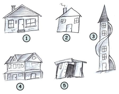 Drawn building caricature Houses cartoon Drawing How Cartoon