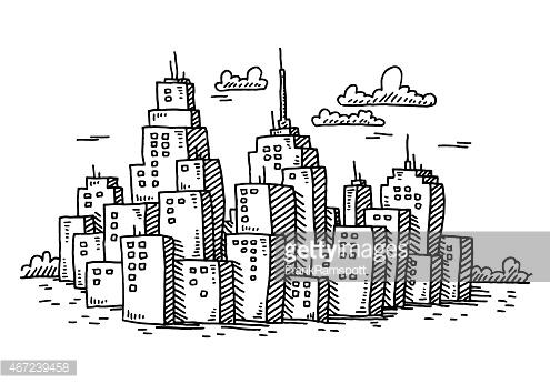 Drawn bulding  cartoon Hand Cartoon Cityscape a drawn