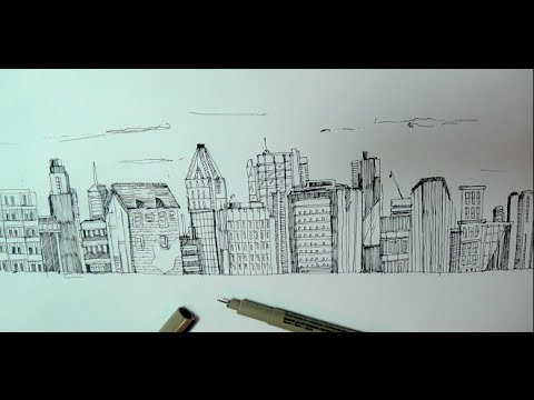 Drawn scenic cityscape Buildings a or with How