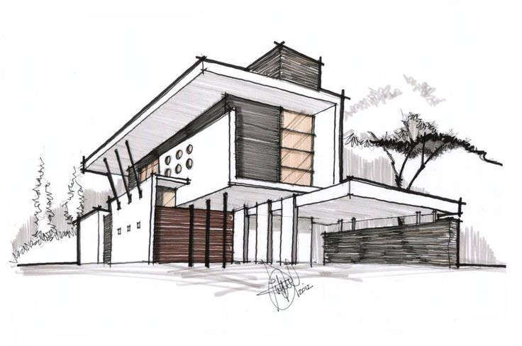 Drawn house contemporary house Mauro@salfo for perspective it SKETCHUP