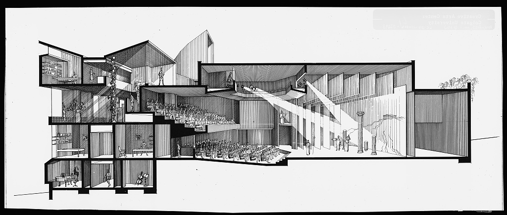 Drawn bulding  creative Sections Rudolph's Center New Arts