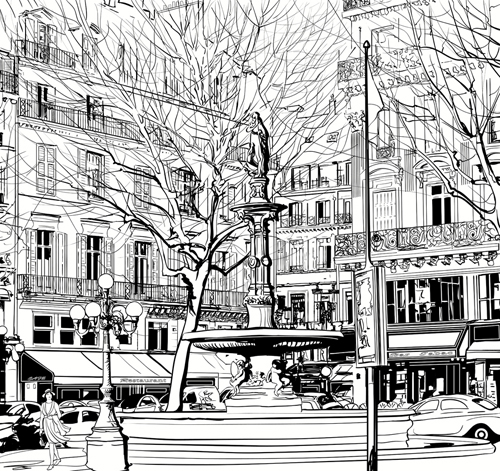 Drawn scenery creative Drawing vector city scenery Drawing