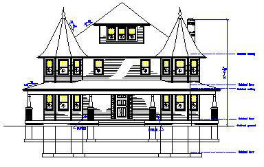 Drawn building dimensional Of the Elevations types window/door