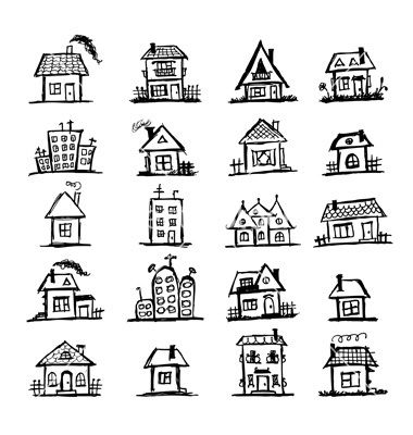 Drawn bulding  doodle Ideas House drawing print 25+