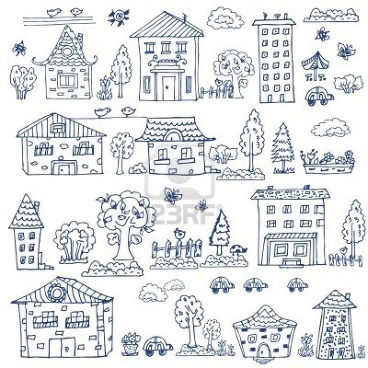 Drawn bulding  doodle Set doodle best Stock doodle
