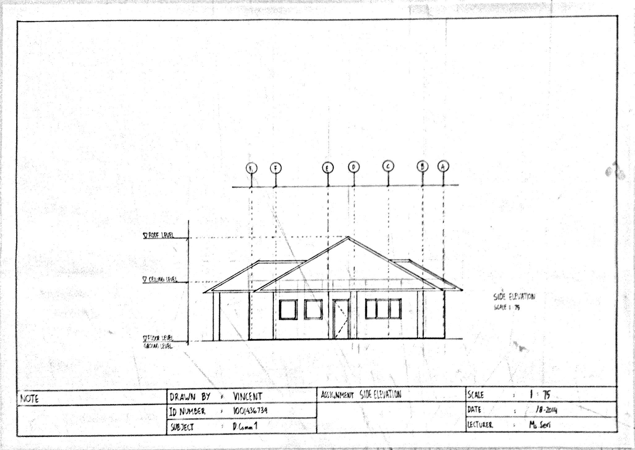 Drawn building elevation drawing The building represents projection Communication