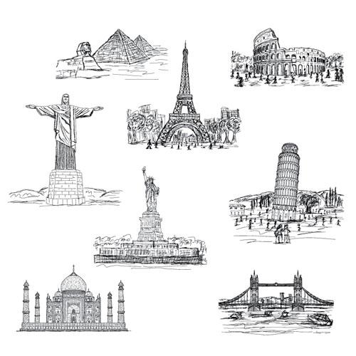 Drawn bulding  hand drawn Vecor Vector Hand building landmarks