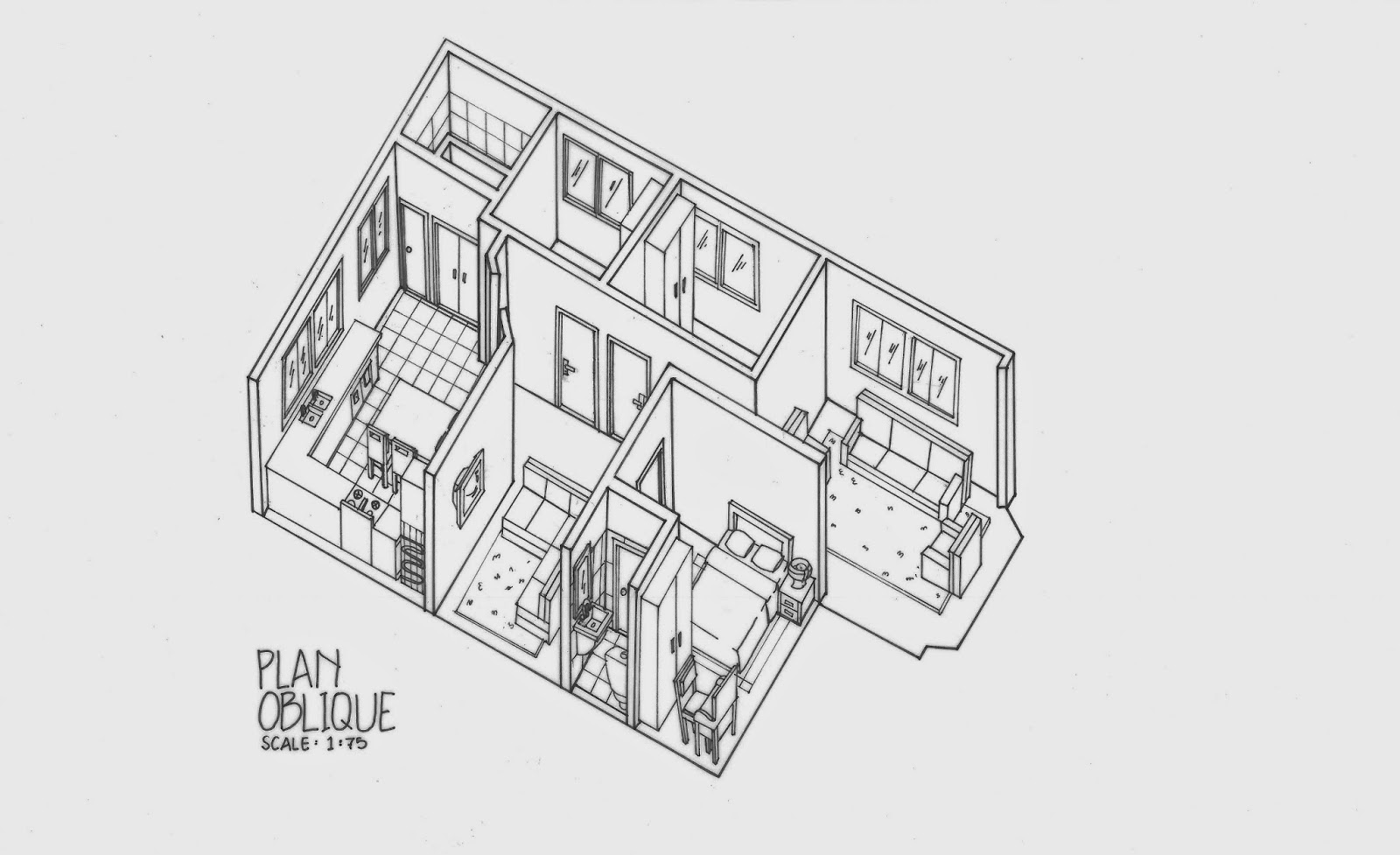 Drawn building isometric Technical in An 2) Plan