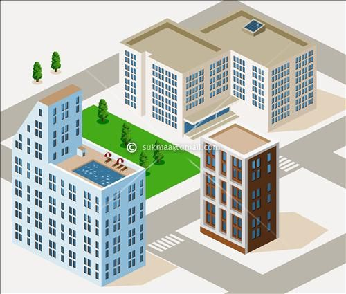 Drawn building isometric About via by Isometric DrawingVectors