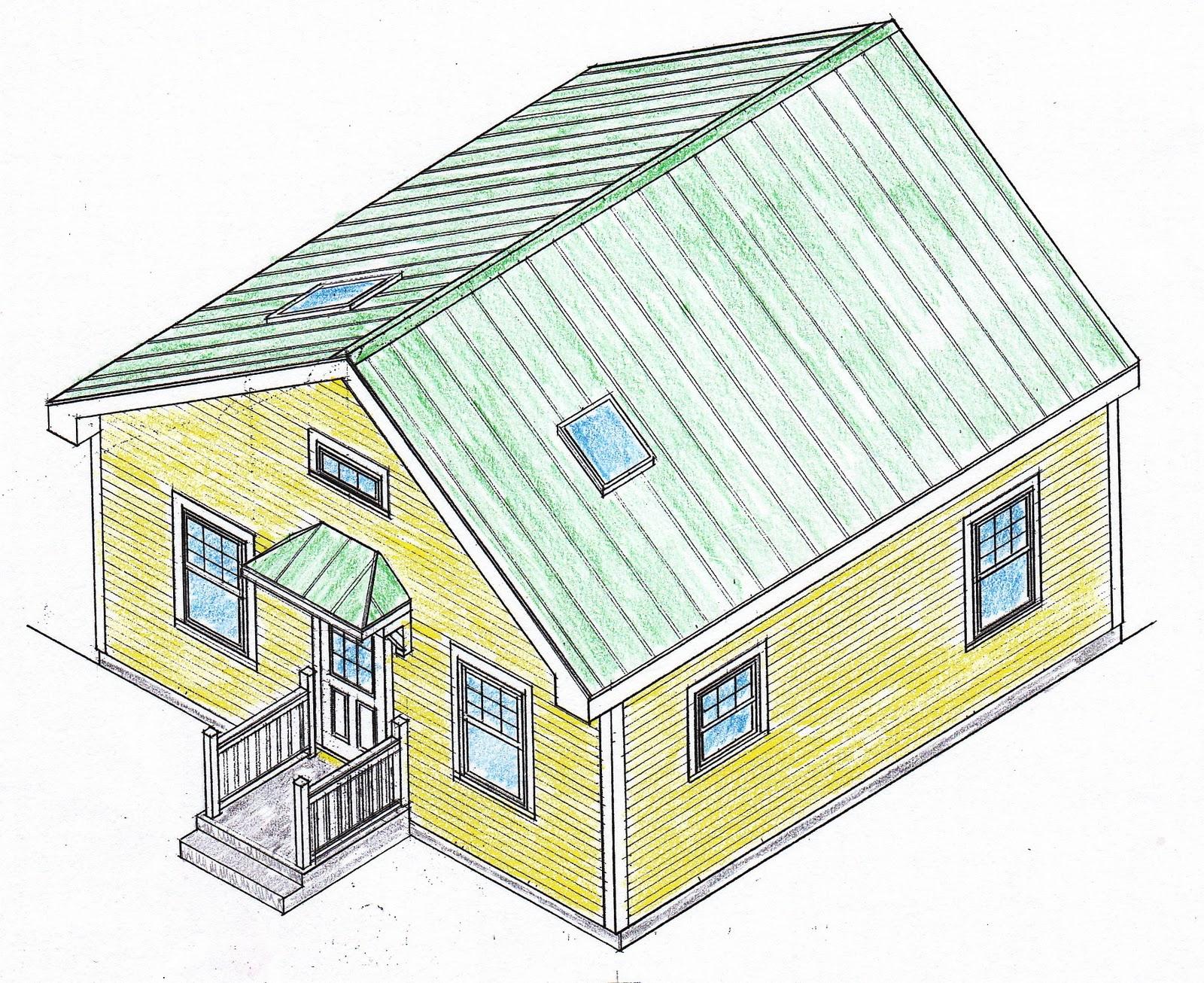 Drawn bulding  isometric Drawing house school plans Simple