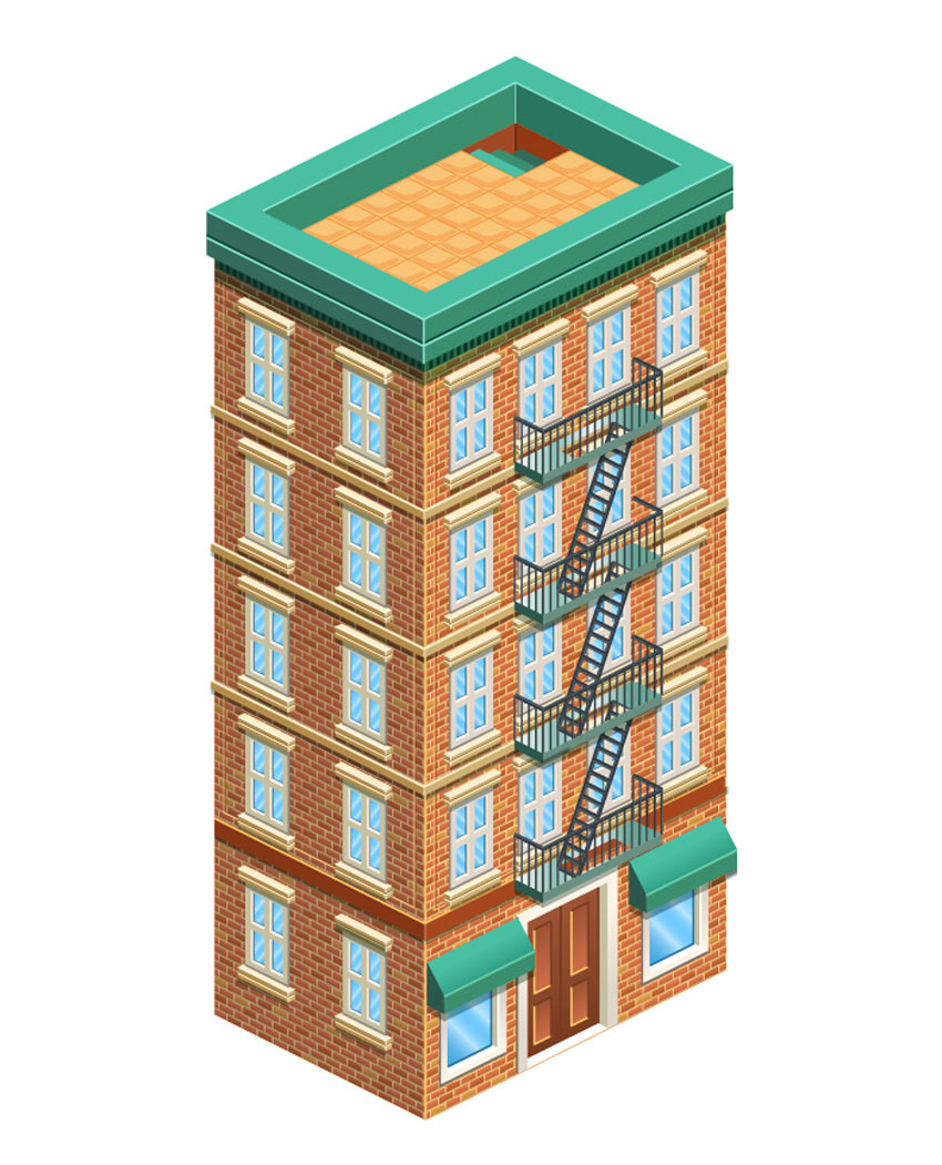 Drawn bulding  isometric To a Tutorial Building in