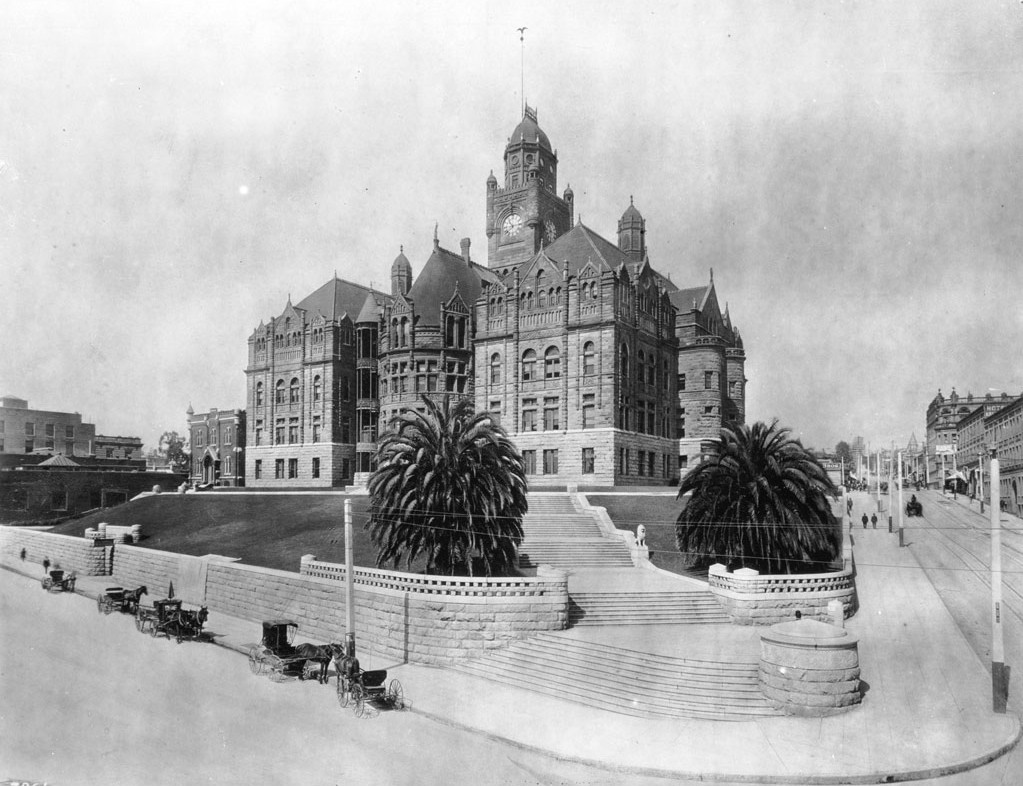 Drawn power line wooden Water County_Courthouse_ca1900 and jpg Associates