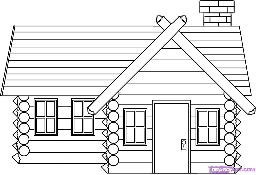 Drawn bulding  log cabin How  Landmarks to draw