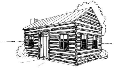 Drawn bulding  log cabin Log Cabin Log cabin Image