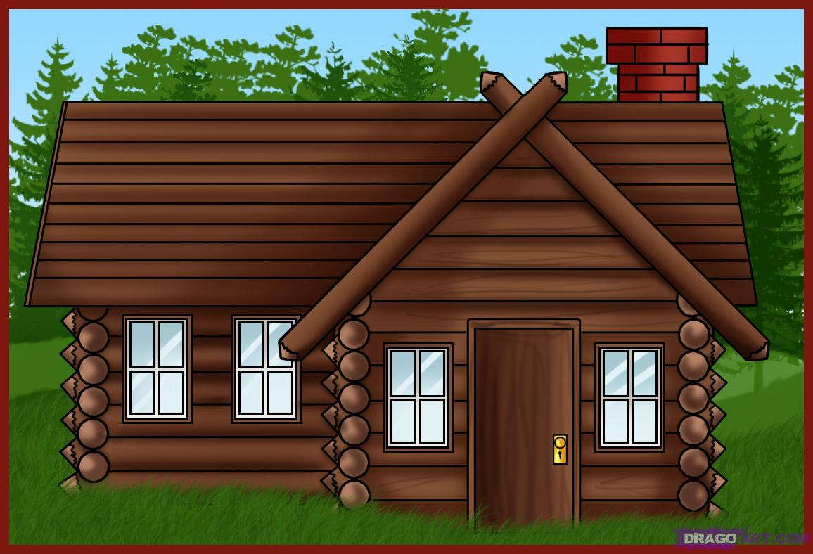 Drawn bulding  log cabin Draw a draw house Log