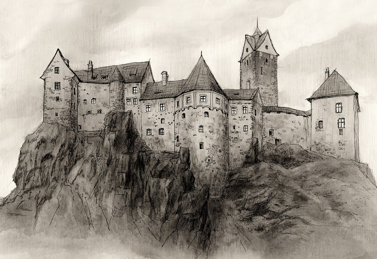 Drawn building medieval castle AncientKing Castle Architecture Loket AncientKing