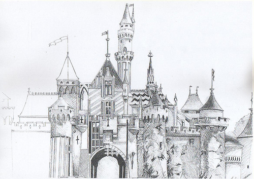 Drawn building medieval castle Period the –  of