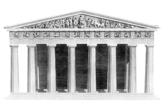 Drawn bulding  neoclassical architecture For term side of with