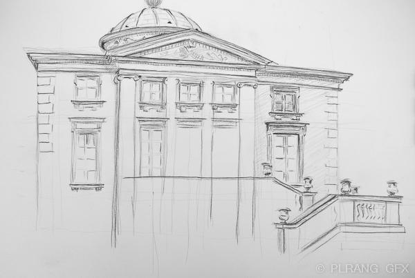 Drawn bulding  neoclassical architecture Neoclassical architecture in watercolor Pencil