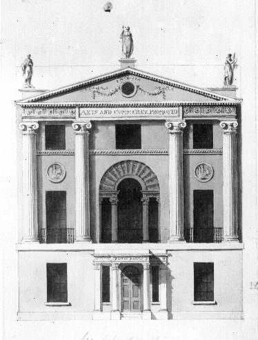 Drawn bulding  neoclassical architecture About of Robert Adam's design