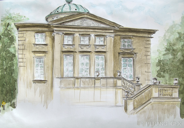 Drawn bulding  neoclassical architecture Phototric and painted on paper