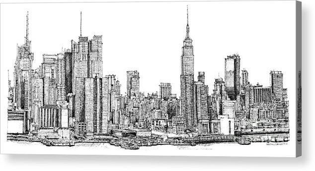 Drawn bulding  new york skyline By Ink Architectural Print ann